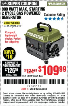 Harbor Freight Coupon TAILGATOR 900 PEAK / 700 RUNNING WATTS, 2HP (63CC) 2 CYCLE GAS GENERATOR EPA/CARB Lot No. 63024/63025 Expired: 2/23/20 - $109.99