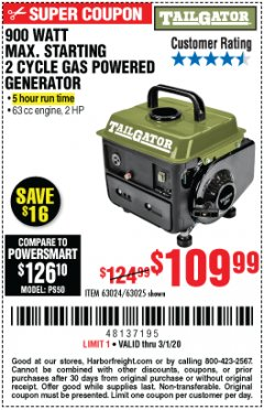 Harbor Freight Coupon TAILGATOR 900 PEAK / 700 RUNNING WATTS, 2HP (63CC) 2 CYCLE GAS GENERATOR EPA/CARB Lot No. 63024/63025 Expired: 3/1/20 - $109.99