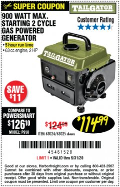 Harbor Freight Coupon TAILGATOR 900 PEAK / 700 RUNNING WATTS, 2HP (63CC) 2 CYCLE GAS GENERATOR EPA/CARB Lot No. 63024/63025 Expired: 6/30/20 - $114.99
