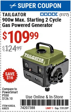 Harbor Freight Coupon TAILGATOR 900 PEAK / 700 RUNNING WATTS, 2HP (63CC) 2 CYCLE GAS GENERATOR EPA/CARB Lot No. 63024/63025 Expired: 7/15/20 - $1009.99
