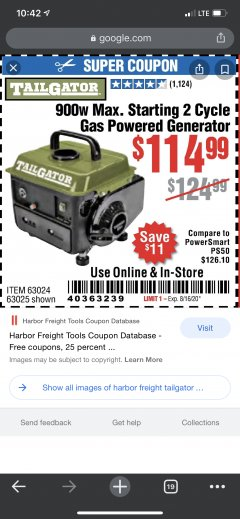 Harbor Freight Coupon TAILGATOR 900 PEAK / 700 RUNNING WATTS, 2HP (63CC) 2 CYCLE GAS GENERATOR EPA/CARB Lot No. 63024/63025 Valid Thru: 8/16/20 - $114.99