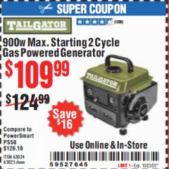 Harbor Freight Coupon TAILGATOR 900 PEAK / 700 RUNNING WATTS, 2HP (63CC) 2 CYCLE GAS GENERATOR EPA/CARB Lot No. 63024/63025 Expired: 10/23/20 - $109.99