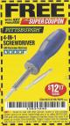 Harbor Freight FREE Coupon 4-IN-1 SCREWDRIVER Lot No. 98899/69470/61988 Expired: 7/31/17 - FWP
