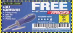 Harbor Freight FREE Coupon 4-IN-1 SCREWDRIVER Lot No. 98899/69470/61988 Expired: 1/31/18 - FWP