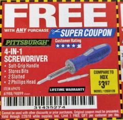 Harbor Freight FREE Coupon 4-IN-1 SCREWDRIVER Lot No. 98899/69470/61988 Expired: 2/28/18 - FWP