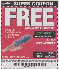 Harbor Freight FREE Coupon 4-IN-1 SCREWDRIVER Lot No. 98899/69470/61988 Expired: 8/29/18 - FWP