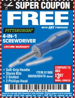 Harbor Freight FREE Coupon 4-IN-1 SCREWDRIVER Lot No. 98899/69470/61988 Expired: 10/5/18 - FWP