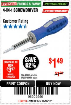 Harbor Freight Coupon 4-IN-1 SCREWDRIVER Lot No. 98899/69470/61988 Expired: 12/16/18 - $1.49