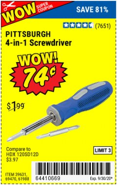 Harbor Freight Coupon 4-IN-1 SCREWDRIVER Lot No. 39631/69470/61988 Expired: 9/30/20 - $0.74