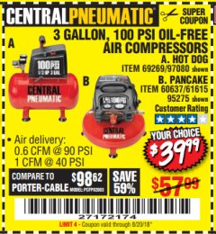 Harbor Freight Coupon 3 GALLON, 100 PSI OILLESS AIR COMPRESSORS Lot No. 69269/97080/60637/61615/95275 Expired: 8/20/18 - $39.99