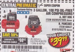 Harbor Freight Coupon 3 GALLON, 100 PSI OILLESS AIR COMPRESSORS Lot No. 69269/97080/60637/61615/95275 Expired: 10/24/18 - $39.99