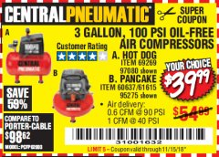 Harbor Freight Coupon 3 GALLON, 100 PSI OILLESS AIR COMPRESSORS Lot No. 69269/97080/60637/61615/95275 Expired: 11/15/18 - $39.99