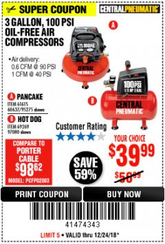 Harbor Freight Coupon 3 GALLON, 100 PSI OILLESS AIR COMPRESSORS Lot No. 69269/97080/60637/61615/95275 Expired: 12/24/18 - $39.99
