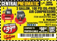 Harbor Freight Coupon 3 GALLON, 100 PSI OILLESS AIR COMPRESSORS Lot No. 69269/97080/60637/61615/95275 Valid Thru: 5/6/19 - $39.99