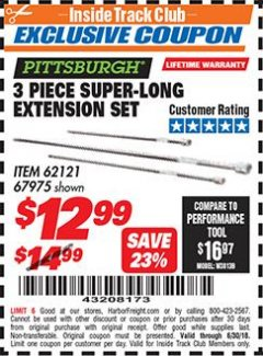 Harbor Freight ITC Coupon 3 PIECE SUPER-LONG EXTENSION SET Lot No. 62121/67975 Expired: 6/30/18 - $12.99