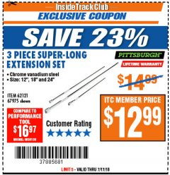 Harbor Freight ITC Coupon 3 PIECE SUPER-LONG EXTENSION SET Lot No. 62121/67975 Expired: 7/17/18 - $12.99