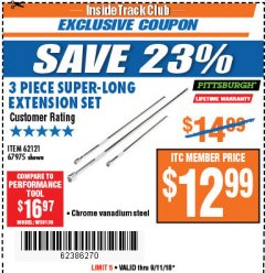 Harbor Freight ITC Coupon 3 PIECE SUPER-LONG EXTENSION SET Lot No. 62121/67975 Expired: 9/11/18 - $12.99