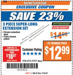 Harbor Freight ITC Coupon 3 PIECE SUPER-LONG EXTENSION SET Lot No. 62121/67975 Expired: 11/6/18 - $12.99