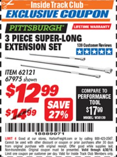 Harbor Freight ITC Coupon 3 PIECE SUPER-LONG EXTENSION SET Lot No. 62121/67975 Expired: 4/30/19 - $12.99