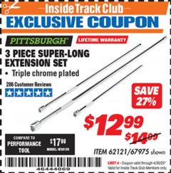 Harbor Freight ITC Coupon 3 PIECE SUPER-LONG EXTENSION SET Lot No. 62121/67975 Expired: 4/30/20 - $12.99