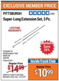 Harbor Freight ITC Coupon 3 PIECE SUPER-LONG EXTENSION SET Lot No. 62121/67975 Expired: 12/3/20 - $10.99