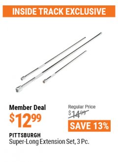 Harbor Freight ITC Coupon 3 PIECE SUPER-LONG EXTENSION SET Lot No. 62121/67975 Valid Thru: 4/29/21 - $12.99