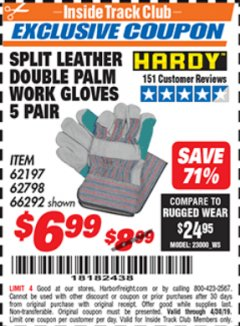 Harbor Freight ITC Coupon SPLIT LEATHER DOUBLE PALM WORK GLOVES - 5 PAIR Lot No. 66292/62197/62798 Expired: 4/30/19 - $6.99
