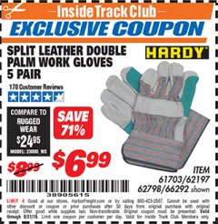 Harbor Freight ITC Coupon SPLIT LEATHER DOUBLE PALM WORK GLOVES - 5 PAIR Lot No. 66292/62197/62798 Expired: 8/31/19 - $6.99