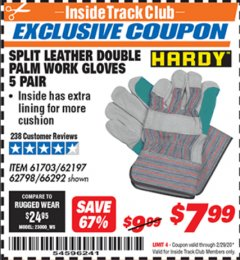 Harbor Freight ITC Coupon SPLIT LEATHER DOUBLE PALM WORK GLOVES - 5 PAIR Lot No. 66292/62197/62798 Valid Thru: 2/29/20 - $7.99