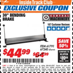 "Harbor Freight ITC Coupon 30"" BENDING BRAKE Lot No. 61791/67240 Dates Valid: 2/1/19 - 2/28/19 - $44.99"
