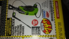 Harbor Freight Coupon 1750 PSI ELECTRIC PRESSURE WASHER Lot No. 63254/63255 Expired: 7/31/18 - $74.99