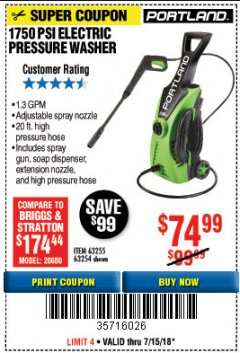 Harbor Freight Coupon 1750 PSI ELECTRIC PRESSURE WASHER Lot No. 63254/63255 Expired: 7/15/18 - $74.99