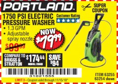 Harbor Freight Coupon 1750 PSI ELECTRIC PRESSURE WASHER Lot No. 63254/63255 Expired: 11/15/18 - $79.99