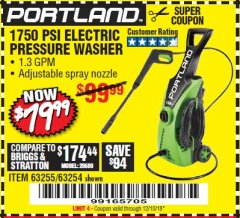 Harbor Freight Coupon 1750 PSI ELECTRIC PRESSURE WASHER Lot No. 63254/63255 Expired: 12/10/18 - $79.99