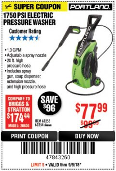 Harbor Freight Coupon 1750 PSI ELECTRIC PRESSURE WASHER Lot No. 63254/63255 Expired: 9/9/18 - $77.99