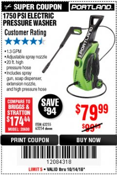 Harbor Freight Coupon 1750 PSI ELECTRIC PRESSURE WASHER Lot No. 63254/63255 Expired: 10/14/18 - $79.99