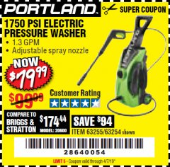 Harbor Freight Coupon 1750 PSI ELECTRIC PRESSURE WASHER Lot No. 63254/63255 Valid Thru: 4/7/19 - $79.99