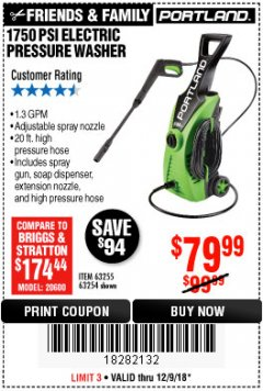 Harbor Freight Coupon 1750 PSI ELECTRIC PRESSURE WASHER Lot No. 63254/63255 Expired: 12/9/18 - $79.99