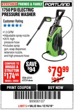 Harbor Freight Coupon 1750 PSI ELECTRIC PRESSURE WASHER Lot No. 63254/63255 Expired: 12/16/18 - $79.99