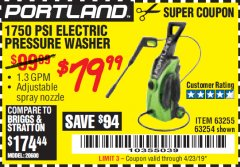 Harbor Freight Coupon 1750 PSI ELECTRIC PRESSURE WASHER Lot No. 63254/63255 Valid Thru: 4/23/19 - $79.99