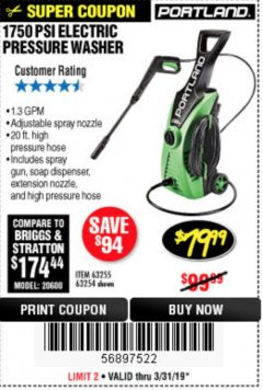 Harbor Freight Coupon 1750 PSI ELECTRIC PRESSURE WASHER Lot No. 63254/63255 Expired: 3/31/19 - $79.99