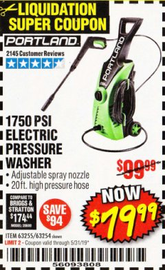 Harbor Freight Coupon 1750 PSI ELECTRIC PRESSURE WASHER Lot No. 63254/63255 Valid Thru: 5/31/19 - $79.99