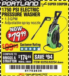 Harbor Freight Coupon 1750 PSI ELECTRIC PRESSURE WASHER Lot No. 63254/63255 Valid Thru: 7/19/19 - $79.99