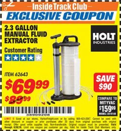 Harbor Freight ITC Coupon 2.3 GAL. MANUAL FLUID EXTRACTOR Lot No. 62643 Expired: 6/30/18 - $69.99