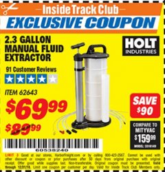 Harbor Freight ITC Coupon 2.3 GAL. MANUAL FLUID EXTRACTOR Lot No. 62643 Expired: 12/31/18 - $69.99