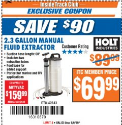Harbor Freight ITC Coupon 2.3 GAL. MANUAL FLUID EXTRACTOR Lot No. 62643 Expired: 1/9/19 - $69.99