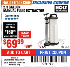 Harbor Freight ITC Coupon 2.3 GAL. MANUAL FLUID EXTRACTOR Lot No. 62643 Expired: 2/11/20 - $69.99