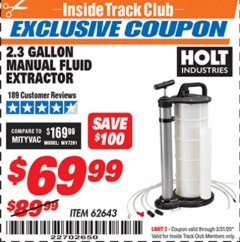 Harbor Freight ITC Coupon 2.3 GAL. MANUAL FLUID EXTRACTOR Lot No. 62643 Expired: 3/31/20 - $69.99