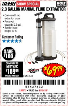 Harbor Freight Coupon 2.3 GAL. MANUAL FLUID EXTRACTOR Lot No. 62643 Expired: 11/24/19 - $69.99