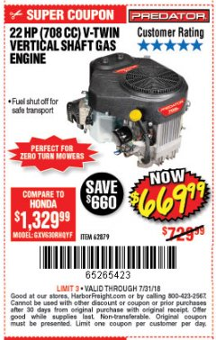 Harbor Freight Coupon 22 HP (708 CC) V-TWIN VERTICAL SHAFT Lot No. 62879 Expired: 7/31/18 - $669.99
